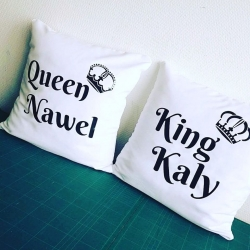 Lot de 2 Coussins King & Queen